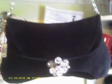 SWAROVSKI BLACK SUEDE PURSE EVENING BAG WITH BLING SILVER STRAP BOHO CHIC