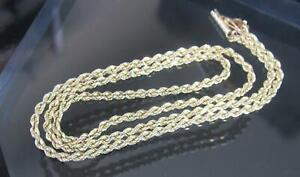 """Solid 14 K Yellow Gold Rope Chain Necklace 18"""" long 8.5 Grams"""