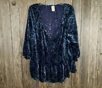 Faded Glory Blue Velvet Burnout Peasant Top Blouse Size 20 20W XXL 2XL