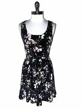 8a8ec6c7bc6 HOT TOPIC Size XL Dress Black Purple Floral Stretch Velvet Sleeveless
