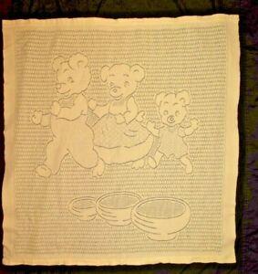Vintage Cotton Blend Three Little Bears Woven Yellow Baby Blanket Japan