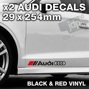 AUDI 2 x DOOR / SIDE SKIRT DECALS VINYL STICKERS - For all Models - BLACK & RED