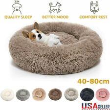 Donut Plush Pet Dog Cat Bed Fluffy Soft Warm Calming Bed Sleeping Kennel Nest XL