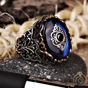 Blue Stone Men's Ring Sapphire Vintage Engraved Heraldic Signet Jewelry For Men