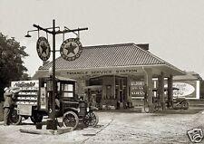 """5x7""""photo TEXACO MOTOR OIL TRIANGLE SERVICE STATION NuGrape soda delivery truck"""