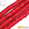 """Red Coral Gemstone Rondelle Spacer Disc Beads For Jewelry Making Strand 15"""" YB"""