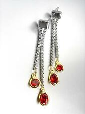 GORGEOUS Silver Box Cable Chain Gold Garnet Red Crystals Dangle Earrings