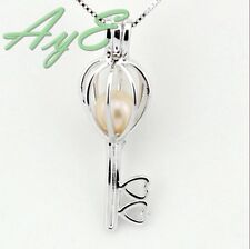 Sterling Silver Pearl Cage Pendant-Shape Love Key Fun Gift Akoya Oyster For Sale