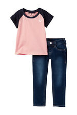 NEW AUTH TRUE RELIGION BABY GIRLS LOGO RAGLAN TEE T-SHIRT & JEAN 2PC SET 12M
