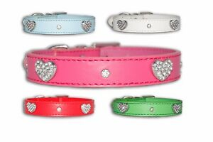 Dog Collar PU Leather Puppy Bling Small Medium Diamante Crystal Necklace Pink UK
