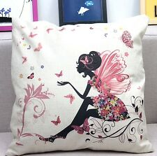 "Flower Fairy Girl 17"" Square Cushion Cover Pillow Case Birthday Gift Home Decor"
