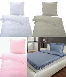 4tlg Bettwäsche Set Rüschen weiß 2lagig in silber gekettelt Perkal 135x200