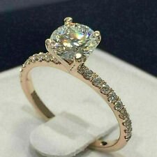 Real 10K White Gold 1.50 Ct Diamond Solitaire With Accents Engagement Ring