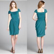 $268 BCBG MAX AZRIA, Green, Cap Sleeve, Draped, Above Knee Dress- Size XS