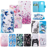 Painted PU Leather Flip Card Wallet Case Cover For Samsung S7 S8 S9 S10 Note 8 9