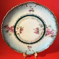 """ANTIQUE PLATE HAND DECORATED HAND DECORATED 11 3/8"""" RED THISTLE BRUSHED GOLD"""