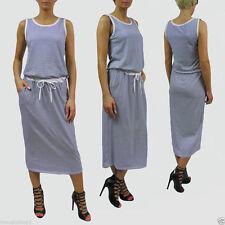 Gestreifte wadenlange Damenkleider aus Baumwolle für die Freizeit