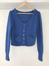 Comptoir Des Cotonniers Blue Angora Blend Knitted Crop Cardigan, AU Size 10 / M