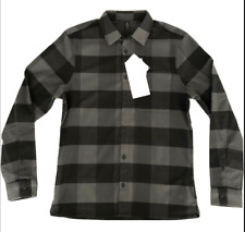 Lululemon Men's Mason's Peak Flannel Shirt Size Med Check Plaid Black $118 NWT
