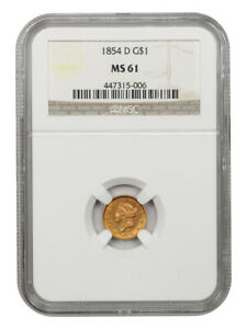 1854-D G$1 NGC MS61 - Rare Issue - 1 Gold Coin - Rare Issue