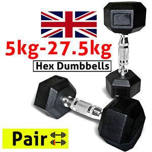 Hex Dumbbells 5kg-27.5kg Rubber Weights Set Home Gym Workout Fitness Equipment
