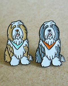 Limited edition Bearded Collie dog enamel lapel pin