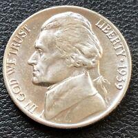 USA 1939 Jefferson Nickel 5 Cent Top Erhaltung BU Unzirkuliert #24955