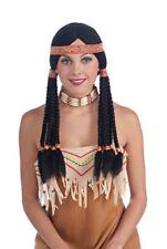 Native American Princess Wig Blk Middle Part W/ Long Braided Pigtails & Band