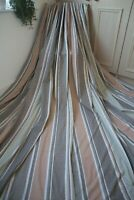 NEXT STRIPED COTTON CURTAINS,53WX54D,BLACKOUT,WHITE,PINK,BROWN,OLIVE,RING,1OF2