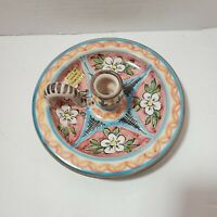 Ceramica Cruz Multi Colored Candle Holder, Made in Spain Good Preowned Condition