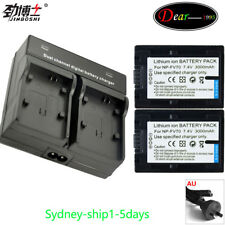 Dual Charger 2x3000mah Battery for Sony Np-fv70 Np-fh70 Hdr-xr HC DCR Camcorder