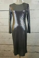 Velvet Touch Dress Women's Large Metallic Silver Bodycon Stretch Party NWT