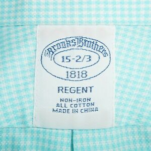 15-32/33 Brooks Brothers 'REGENT' Non-Iron Cotton Aqua Blue & White Dress Shirt