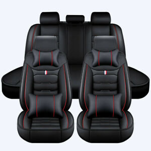 Universal Full Set Car Seat Covers Front and Rear Cushions Leather Pad Black Red
