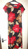 Lovely Jeffrey Rogers Black Red & Cream print Dress Wedding / Occassion Size 12