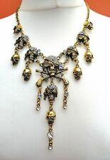 CHUNKY PIRATE SKULLS PISTOLS DIAMANTÉ ANTIQUE GOLD DROP NECKLACE GOTH HALLOWEEN