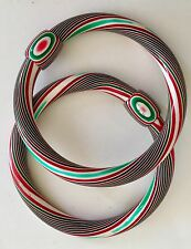 Lea Stein Bangle Bracelets Vintage Jewelry Red White Green