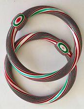 Lea Stein Bangle Bracelets Vintage Jewelry Red White Green
