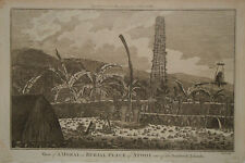 c.1780 Genuine Antique print Burial Place, Atooi, Hawaii. Travels of James Cook