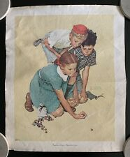 """Knuckles Down"" by Norman Rockwell Lithograph on Canvas (1972)"