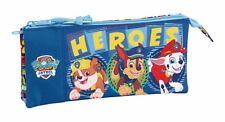 "Paw Patrol ""HEROES"" Triple Pocket Pencil Case iléostomie Kids Blue Stationery"