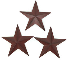 Set of 3 Primitive Metal Barn Star - 8 inch Burgundy Star - Farmhouse Decor