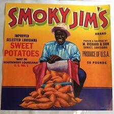 Fruit Crate Can Label Smoky Jim's Sunset LA Richard & Son Black Americana Illn