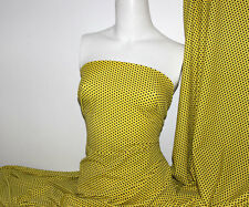 Black/Yellow Polka-dot Lycra/Spandex 4 way stretch Matt Finish Fabric