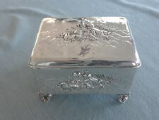 Antique Rococo Putti Cherub Repousse  Sterling Silver Vanity Jewelry Box