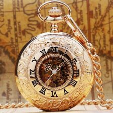 Classic Gold Steampunk Skeleton Mechanical Roman Numerals Pocket Watch Mens Gift