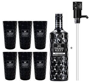 Three Sixty Black 42 Vodka 3L (42% Vol) + Pumpe + 6x Black Longdrink Gläser eck