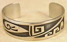 Patrick Lomawaima Hopi Sterling Silver Overlay Cuff Bracelet X025A
