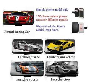 Supercar phone case race car leather flip wallet mobile phone cover