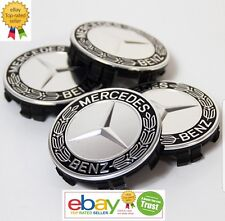 Mercedes Benz Center Caps Black Laurel Wreath 3 Inch/75mm Fits Most Models 4x